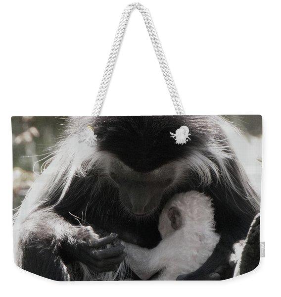 Black And White Image Of Colobus Monkeys Weekender Tote Bag