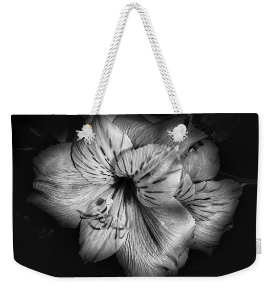 Black And White Lily Weekender Tote Bag
