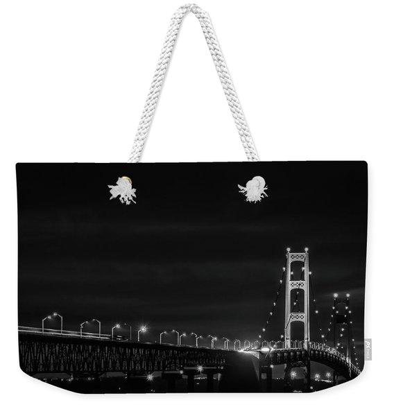 Black And White Mackinac Bridge At Night Weekender Tote Bag