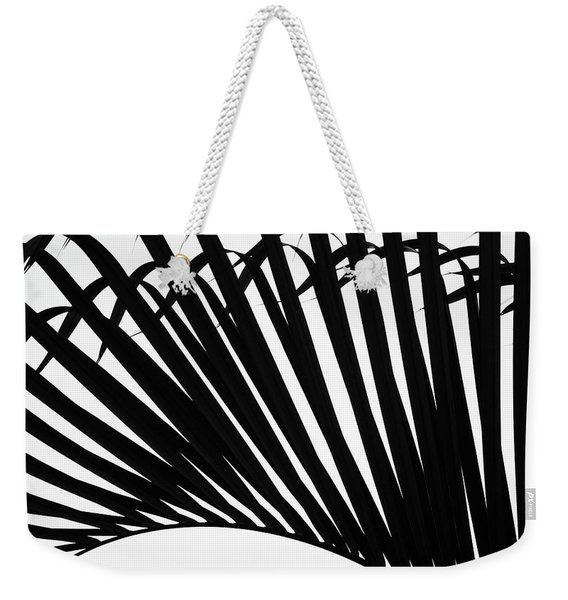 Black And White Palm Branch Weekender Tote Bag