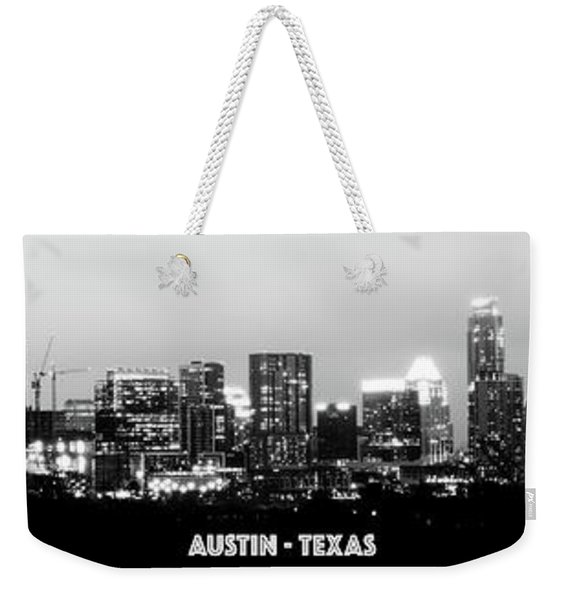 Black And White Panoramic View Of Downtown Austin Weekender Tote Bag