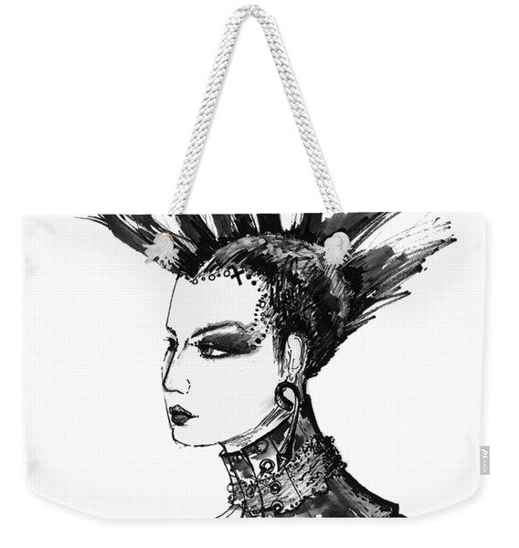 Black And White Punk Rock Girl Weekender Tote Bag