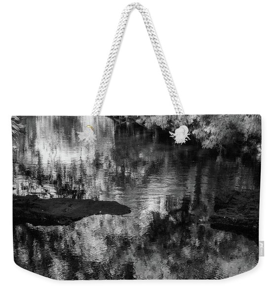 Black And White Reflection Weekender Tote Bag