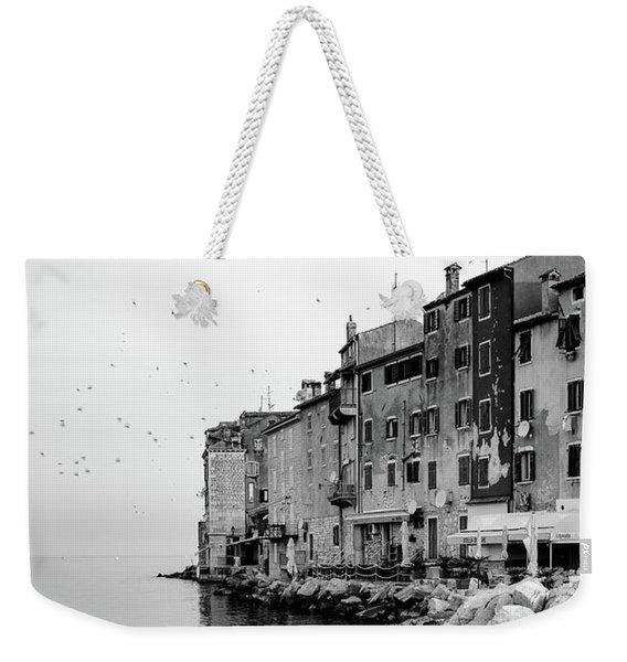 Black And White - Rovinj Venetian Buildings And Adriatic Sea, Istria, Croatia Weekender Tote Bag
