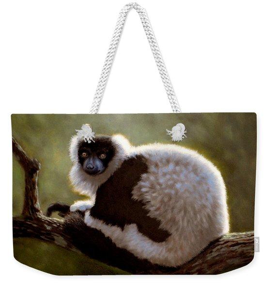 Black And White Ruffed Lemur Weekender Tote Bag