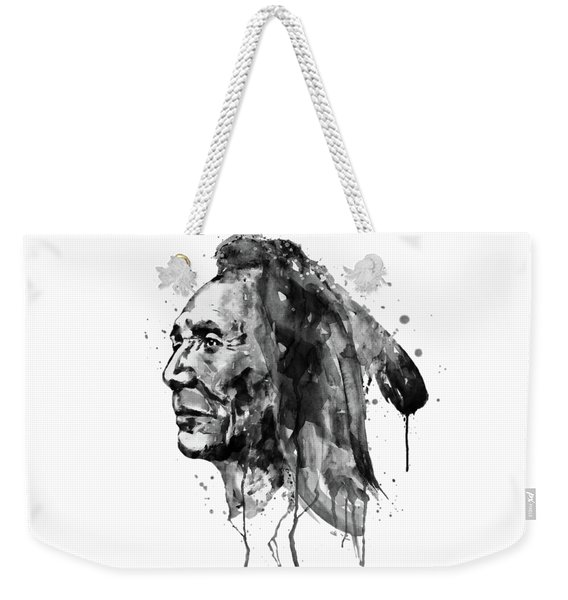 Black And White Sioux Warrior Watercolor Weekender Tote Bag
