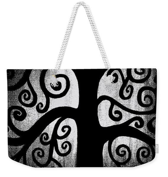 Black And White Tree Weekender Tote Bag