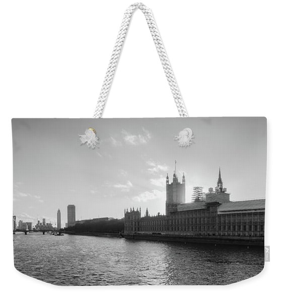 Black And White View Of Thames River And House Of Parlament From Weekender Tote Bag