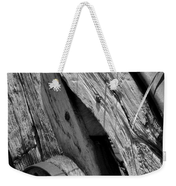Black And White Wagon Wheel 1 Weekender Tote Bag