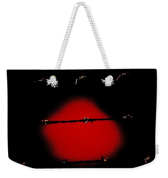 Black Barbed Wire Over Black And Blood Red Background Eerie Imprisonment Scene Weekender Tote Bag