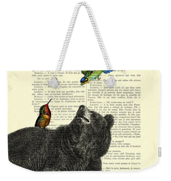 Black Bear With Colorful Tropical Birds Weekender Tote Bag