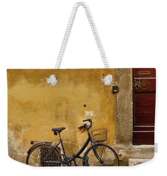 Weekender Tote Bag featuring the photograph Black Bike by Patricia Strand