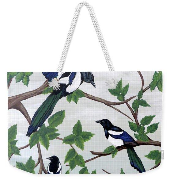 Black Billed Magpies Weekender Tote Bag