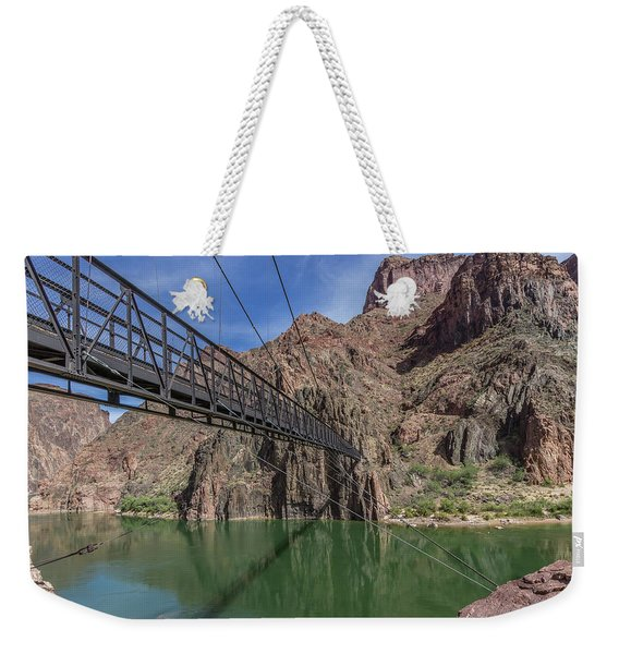 Black Bridge Over The Colorado River At Bottom Of Grand Canyon Weekender Tote Bag