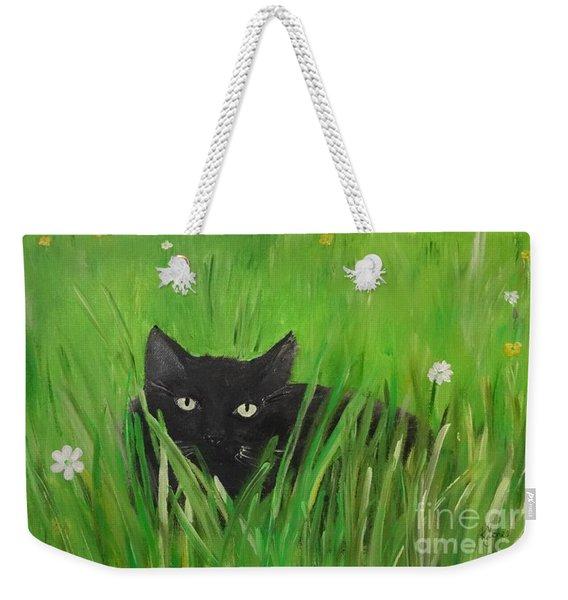 Black Cat In A Meadow Weekender Tote Bag