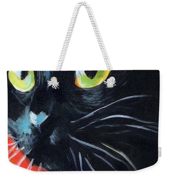 Black Cat Painting Portrait Weekender Tote Bag