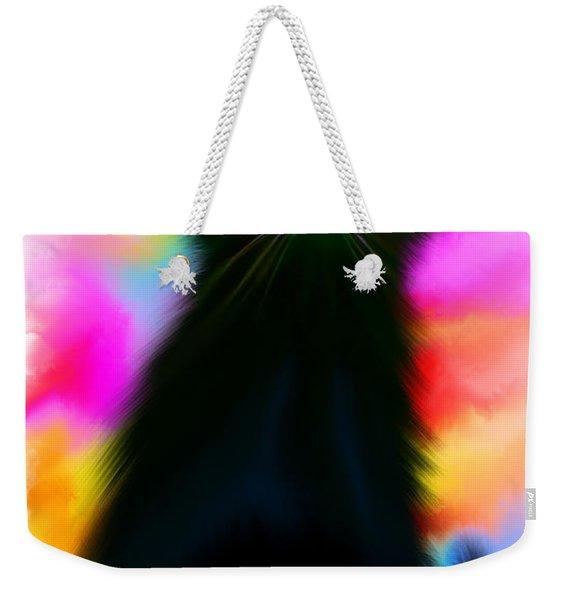 Black Cat Rainbow Sky Weekender Tote Bag