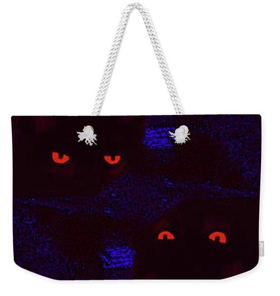 Black Cat Under A Blood Red Moon Weekender Tote Bag