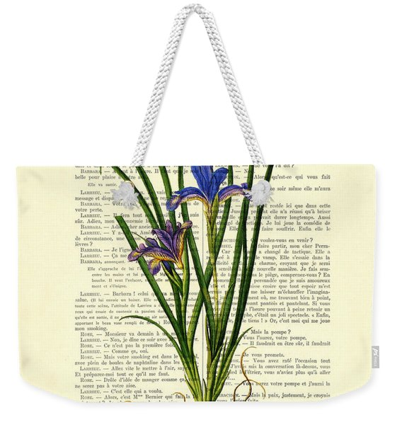 Black Iris Antique Illustration On Dictionary Page Weekender Tote Bag
