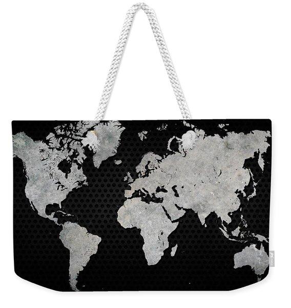 Black Metal Industrial World Map Weekender Tote Bag
