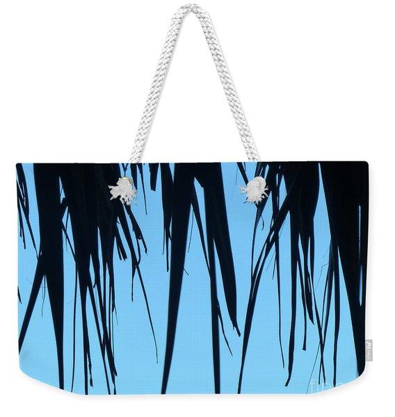 Black Palms On Blue Sky Weekender Tote Bag