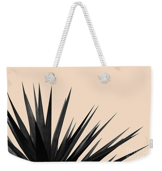 Black Palms On Pale Pink Weekender Tote Bag