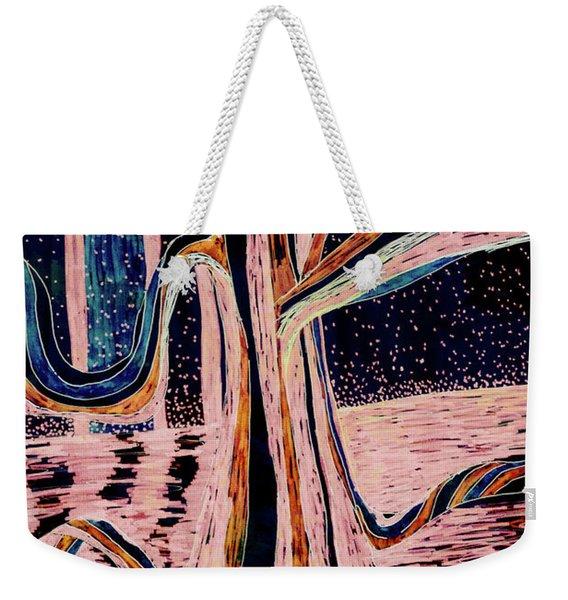 Black-peach Moonlight River Tree Weekender Tote Bag