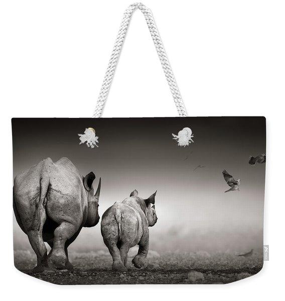 Black Rhino Cow With Calf  Weekender Tote Bag