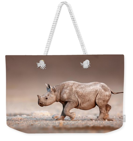 Black Rhinoceros Baby Running Weekender Tote Bag