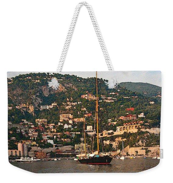 Black Sailboat At Villefranche II Weekender Tote Bag