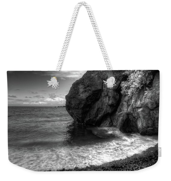 Weekender Tote Bag featuring the photograph Black Sand Beach by Break The Silhouette