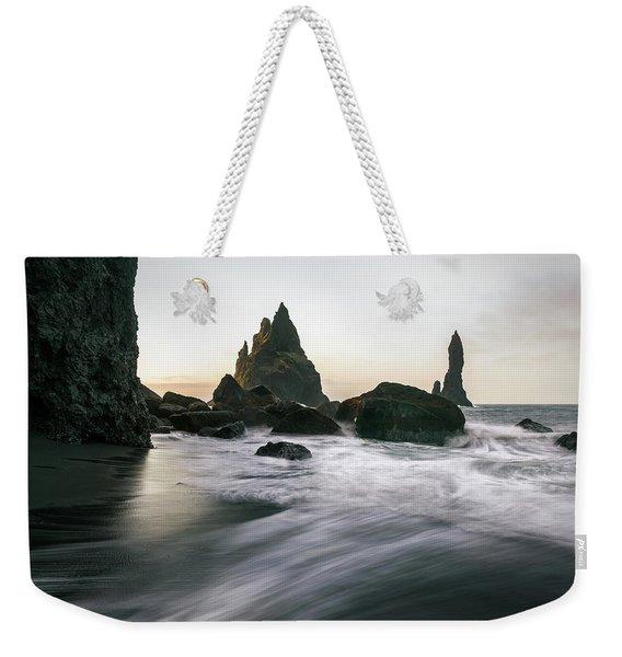 Black Sand Beach In Iceland Weekender Tote Bag