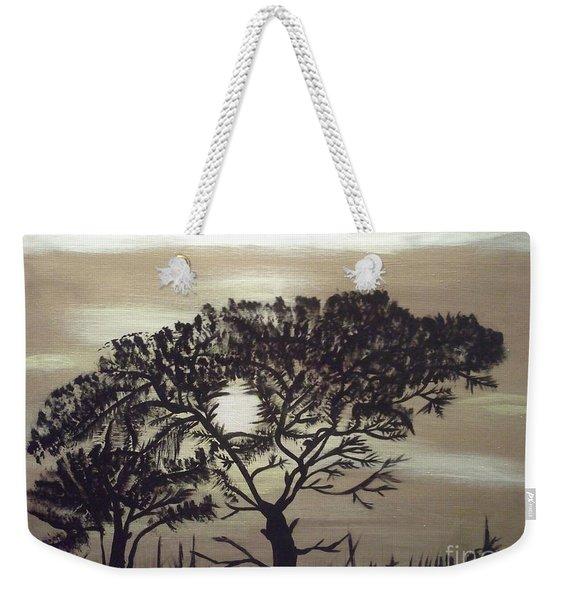 Black Silhouette Tree Weekender Tote Bag