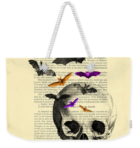 Black Skull And Bats On A Dictionary Page Weekender Tote Bag