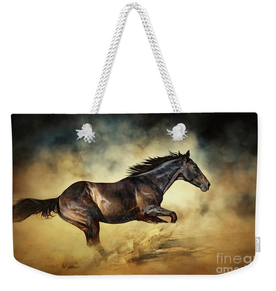 Black Stallion Horse Galloping Like A Devil Weekender Tote Bag