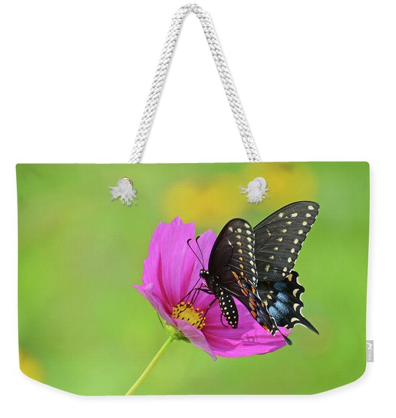 Black Swallowtail On A Cosmos Weekender Tote Bag