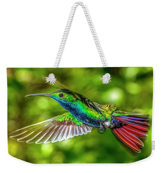 Weekender Tote Bag featuring the photograph Black Throated Mango Sparkles by James Solomon