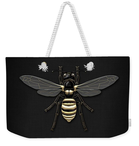 Black Wasp With Gold Accents On Black  Weekender Tote Bag