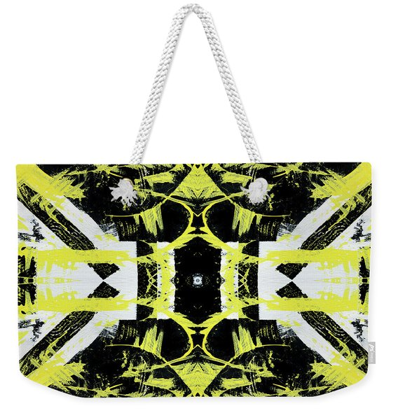 Black White Yellow Pattern Weekender Tote Bag