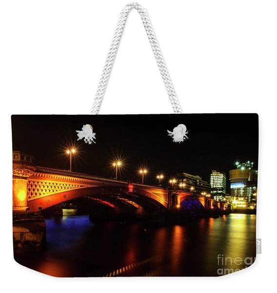 Blackfriars Bridge Illuminated In Orange Weekender Tote Bag