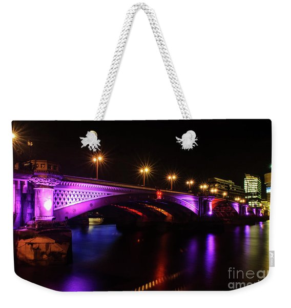 Blackfriars Bridge Illuminated In Purple Weekender Tote Bag