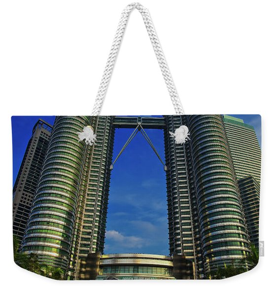 Weekender Tote Bag featuring the photograph Blast Off At The Petronas Twin Towers, Kuala Lumpur, Malaysia by Sam Antonio Photography