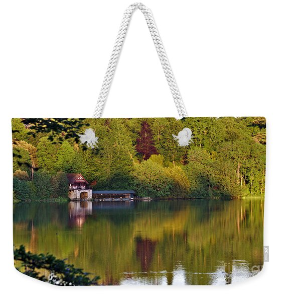 Weekender Tote Bag featuring the photograph Blenheim Palace Boathouse 2 by Jeremy Hayden