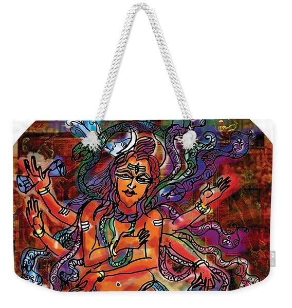 Weekender Tote Bag featuring the painting Blessing Shiva by Guruji Aruneshvar Paris Art Curator Katrin Suter