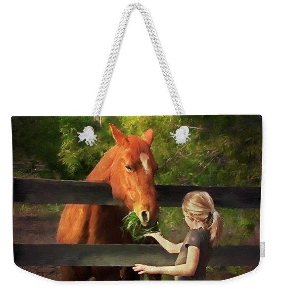 Blond With Horse Weekender Tote Bag