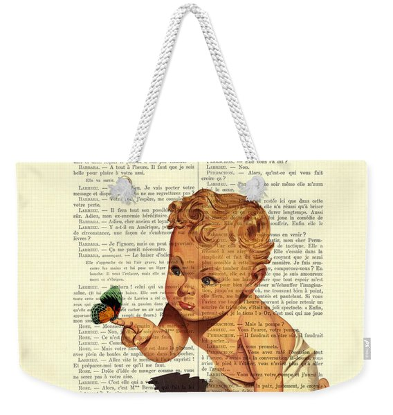 Baby Boy With Butterfly Nursery Art Weekender Tote Bag
