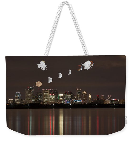 Blood Moon Lunar Eclipse Over Boston Massachusetts Weekender Tote Bag
