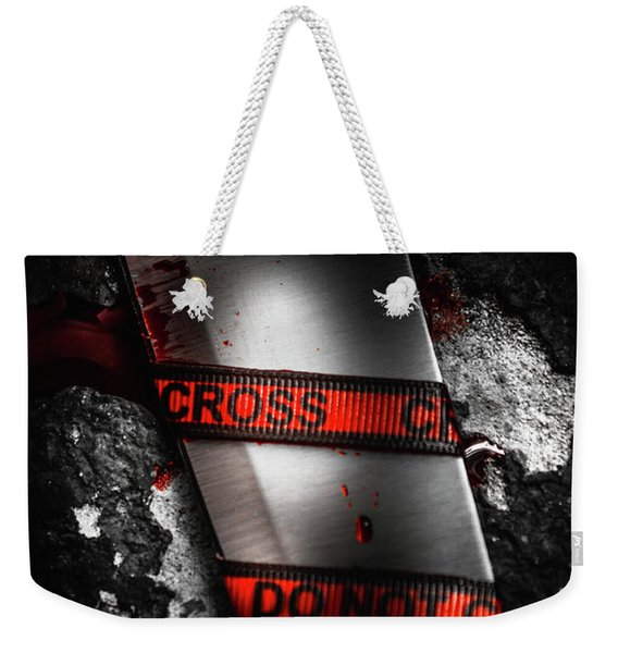 Bloody Knife Wrapped In Red Crime Scene Ribbon Weekender Tote Bag