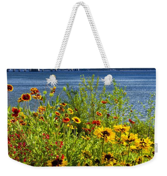 Blooming Flowers By The Bridge At The Straits Of Mackinac Weekender Tote Bag
