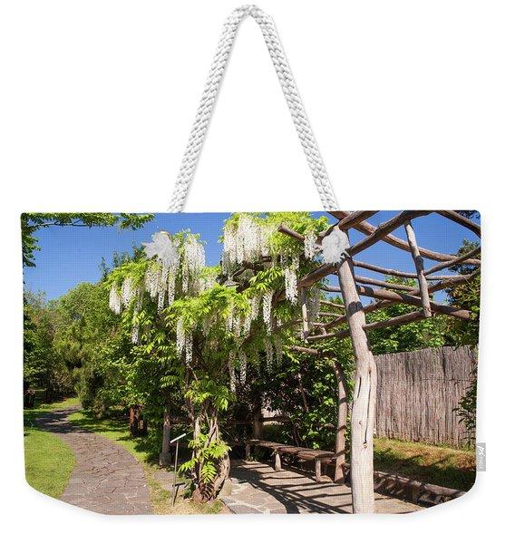 Blooming White Wisteria In Japanese Garden Weekender Tote Bag
